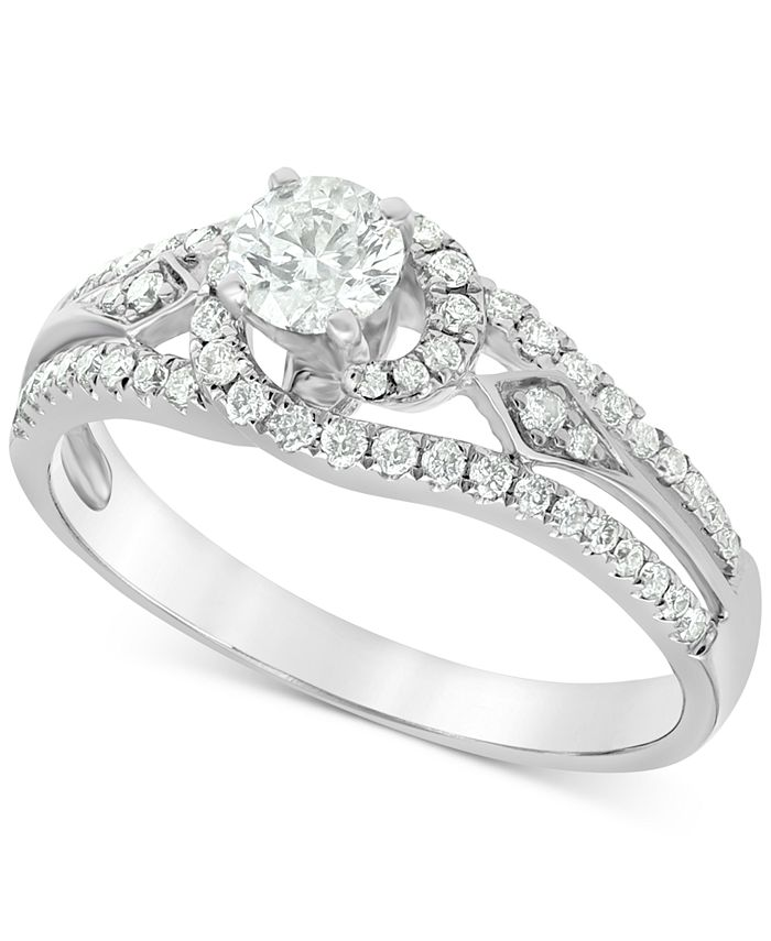 Macy's - Diamond (3/4 ct. t.w.) Swirl Engagement Ring in 14k White Gold