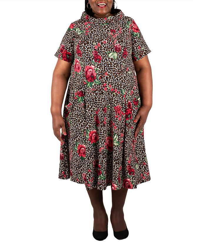 Robbie Bee - Plus Size Mixed-Print Fit & Flare Dress