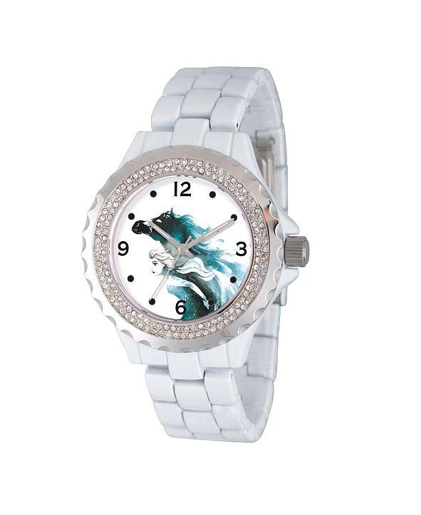 ewatchfactory Disney Frozen 2 Elsa Women's Enamel Sparkle White Alloy Watch 41mm