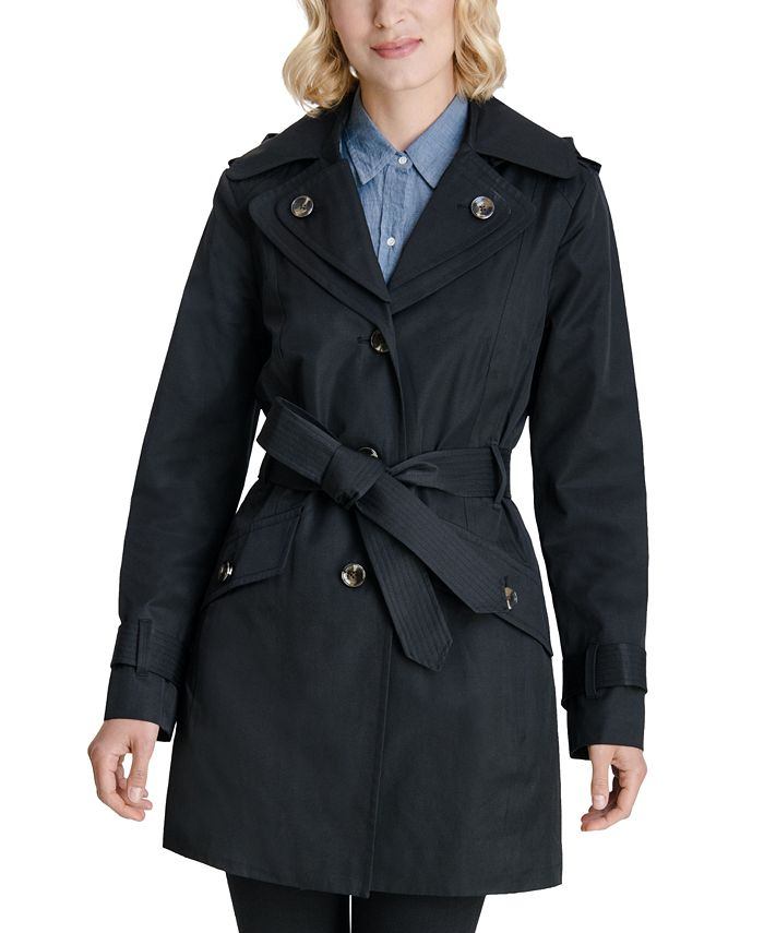 London Fog - Double Collar Hooded Trench Coat