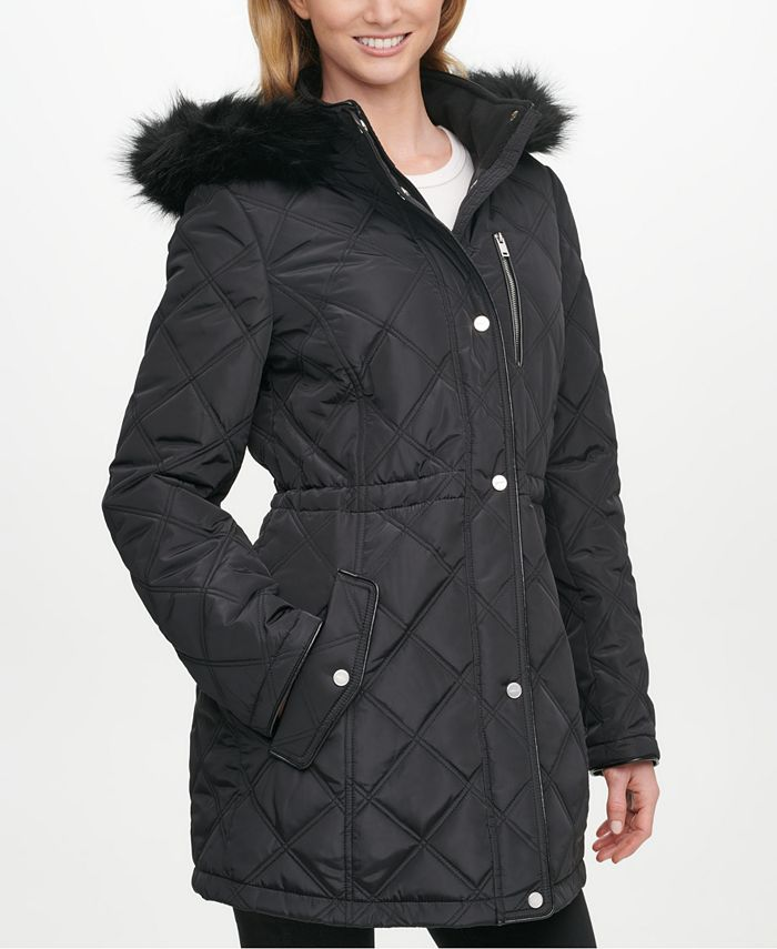 DKNY - Faux-Fur-Trim Hooded Quilted Anorak Coat