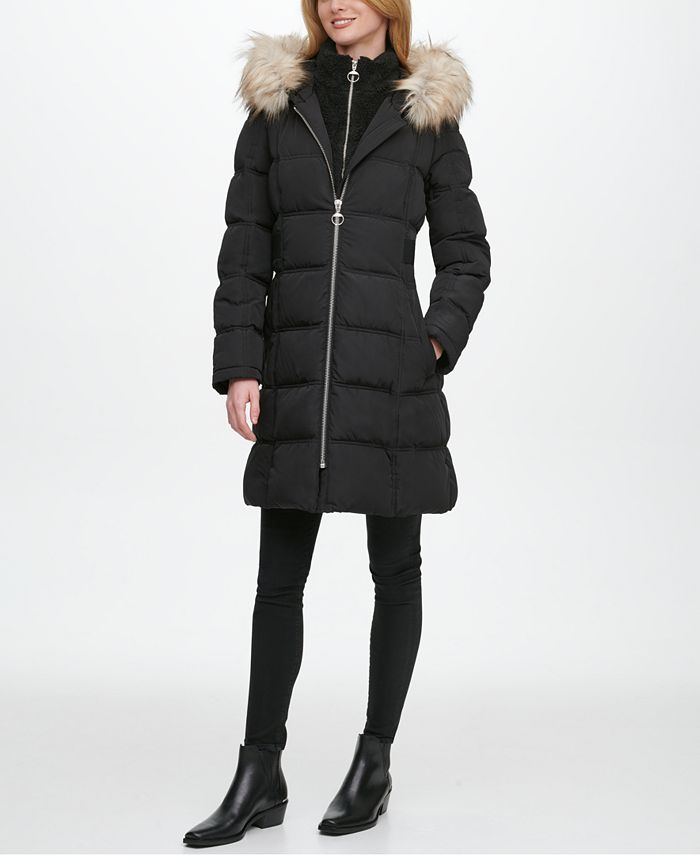 DKNY - Fleece-Lined Faux-Fur-Trim Hooded Puffer Coat