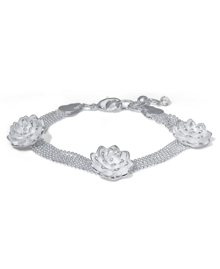 Macy's Fine Silver Plate Triple Rose Flower Bracelet & Reviews - Bracelets - Jewelry & Watches - Macy's
