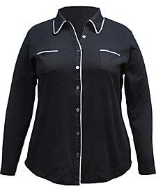 Karen Scott Plus Size Cotton Knit Shirt, Created for Macy's