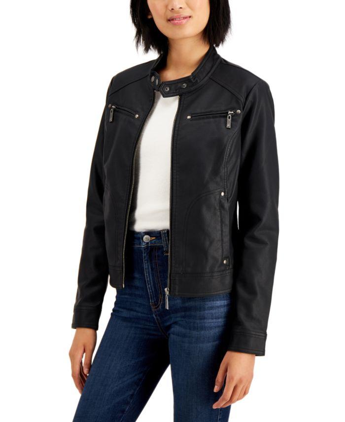 Jou Jou Juniors' Faux-Leather Jacket & Reviews - Coats - Women - Macy's
