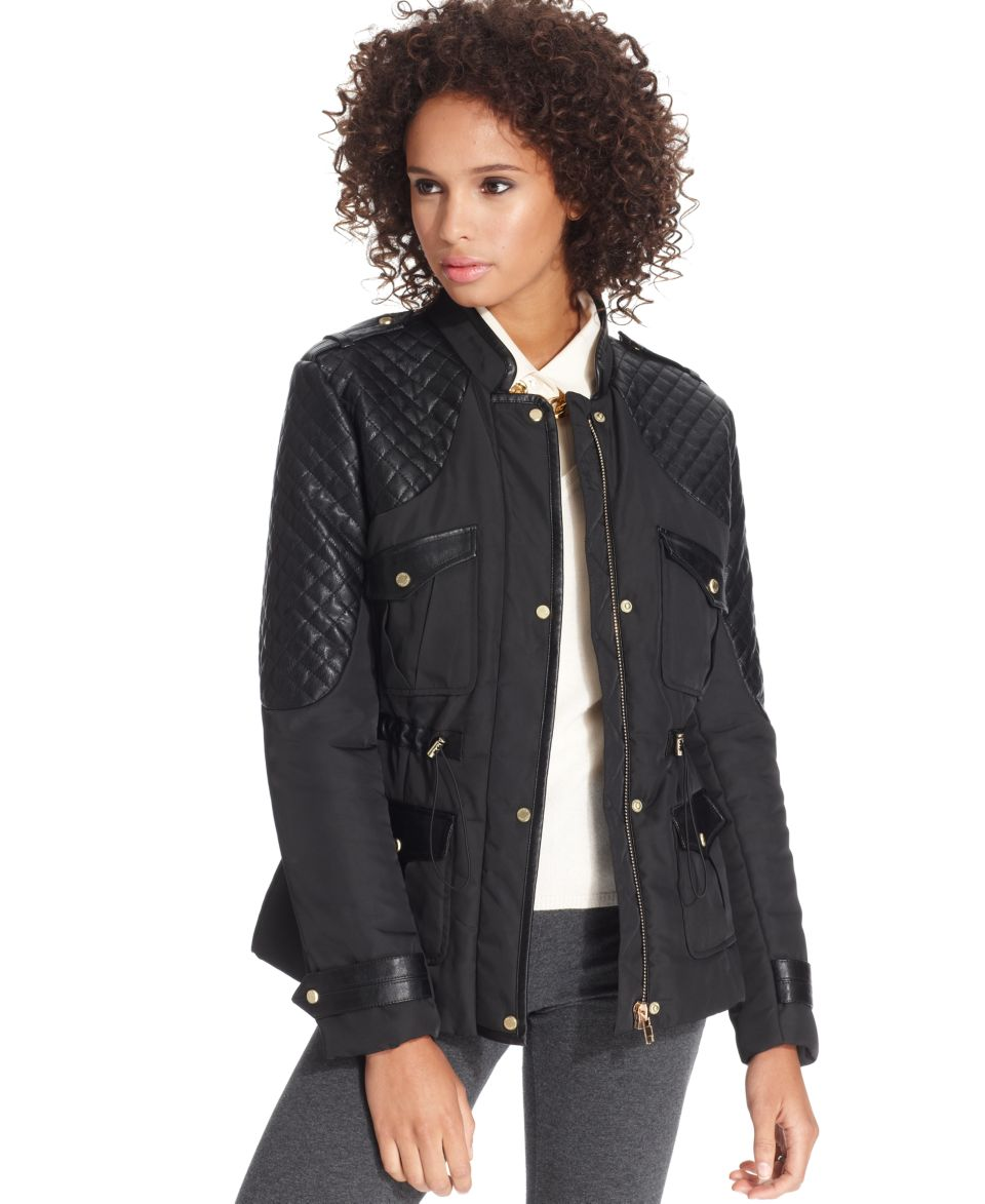 W118 by Walter Baker Coat, Long Sleeve Quilted Faux Leather   Coats