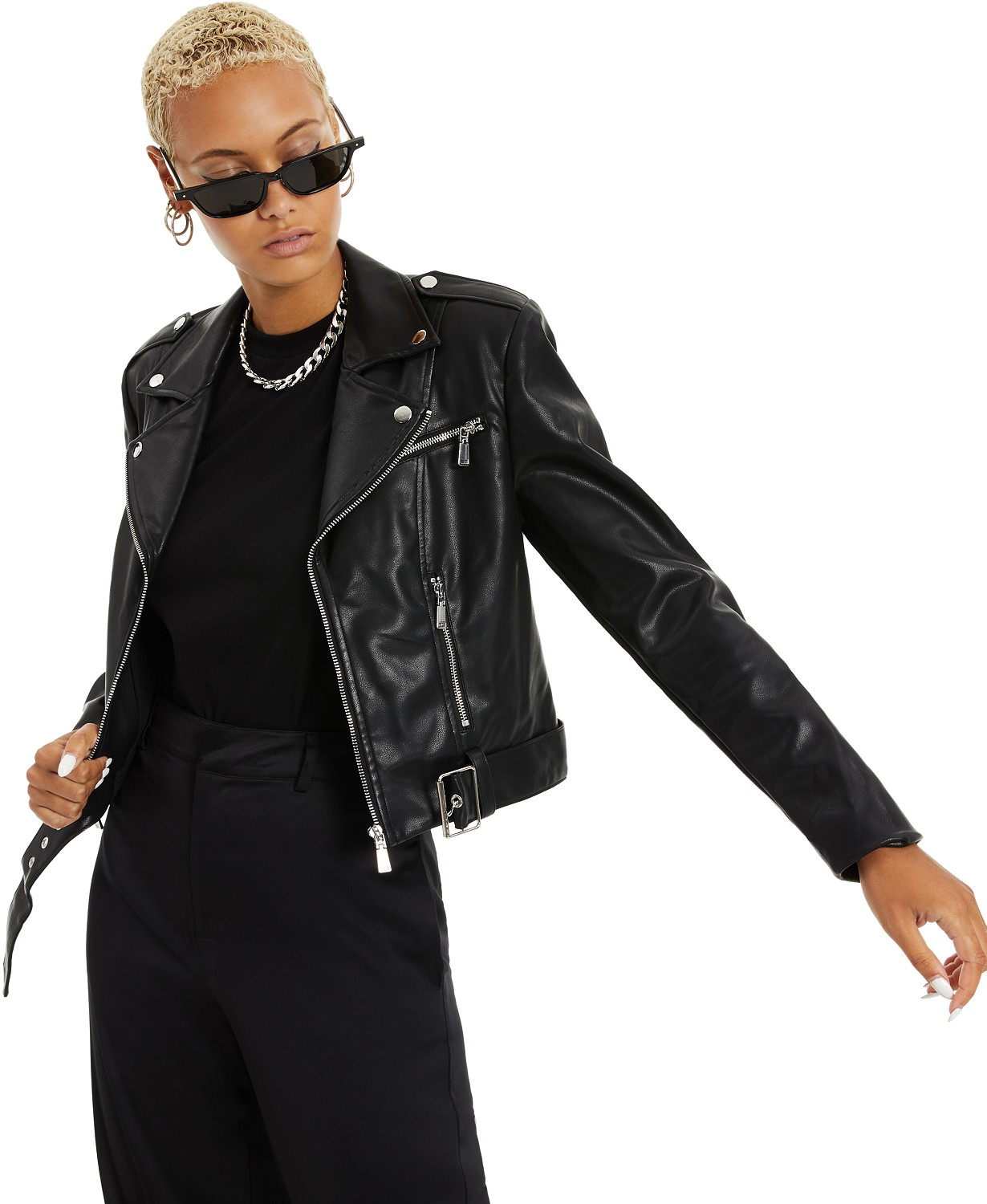 Danielle Bernstein Faux-Leather Moto Jacket, Created for Macy's