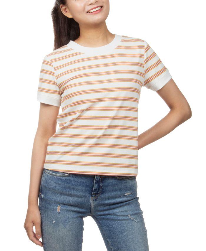 Hippie Rose - Juniors' Ribbed-Knit Striped Ringer T-Shirt