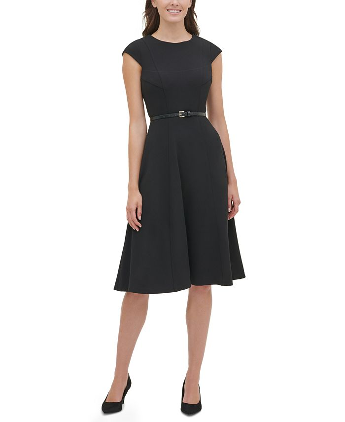 Tommy Hilfiger - Belted Fit & Flare Midi Dress