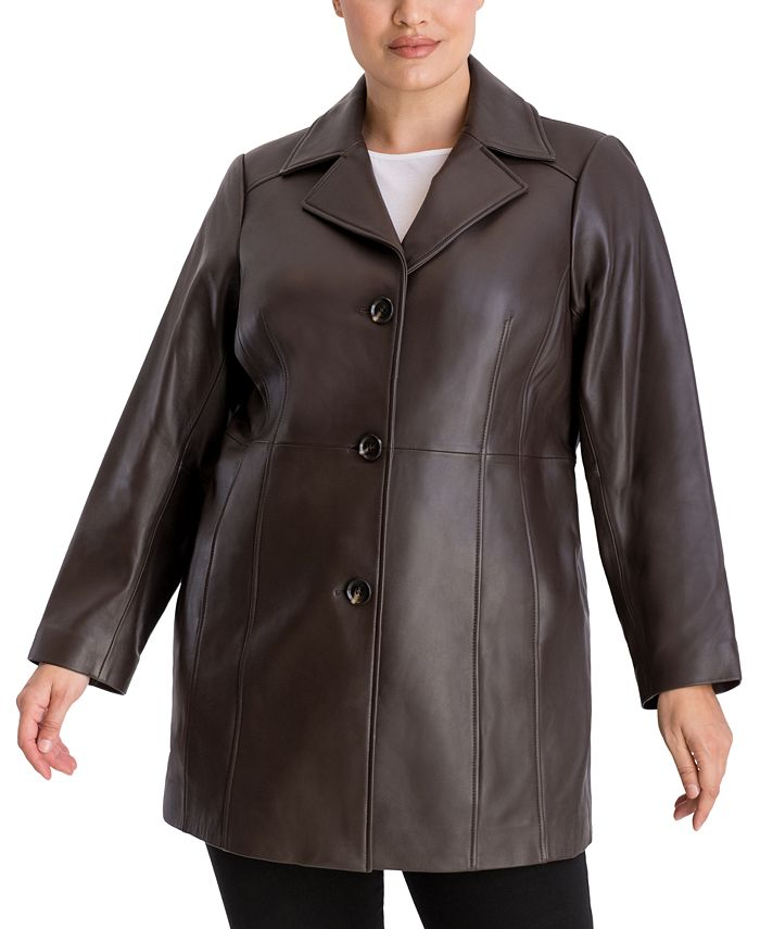 Anne Klein - Plus Size Button-Up Leather Jacket