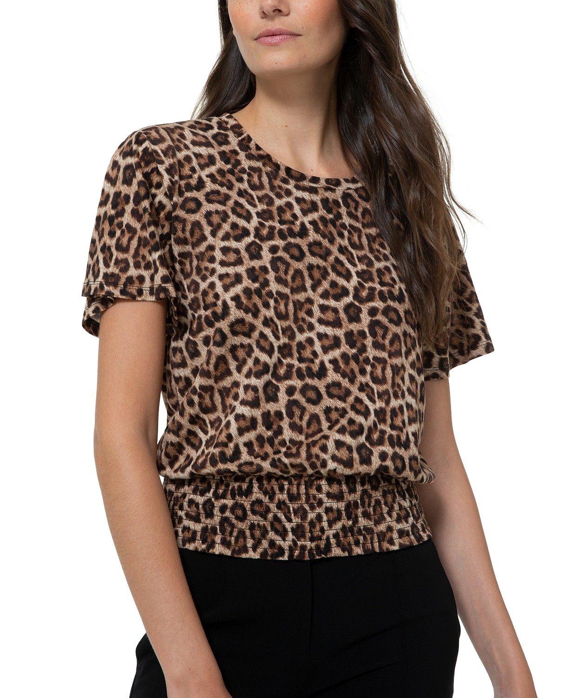 MICHAEL Michael Kors Smock-Waist Leopard-Print Top
