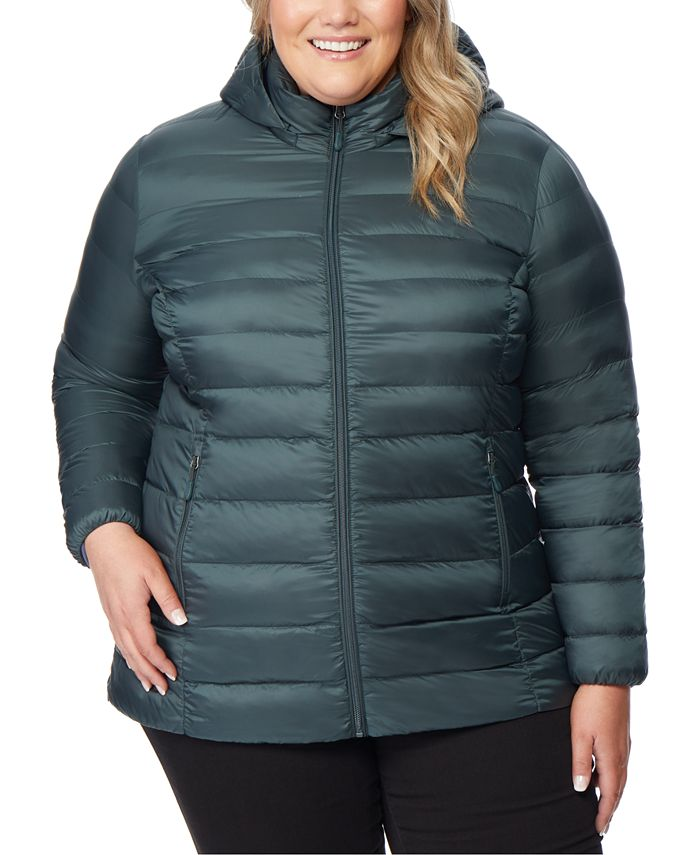 32 Degrees - Plus Size Hooded Packable Puffer Coat