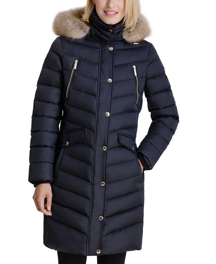 Michael Kors - Faux-Fur Trim Hooded Puffer Coat