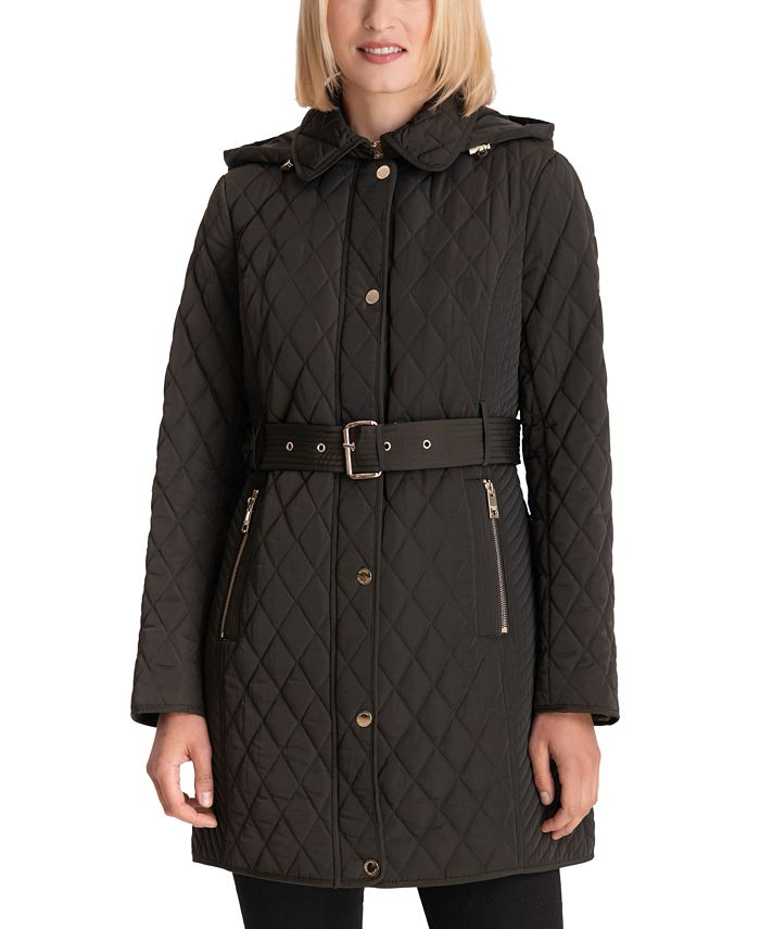 Michael Kors Petite Belted Quilted Coat Created For Macys Reviews Coats Petites Macy S