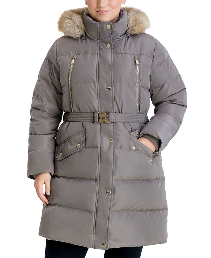 Michael Kors - Plus Size Belted Faux-Fur Trim Hooded Puffer Coat
