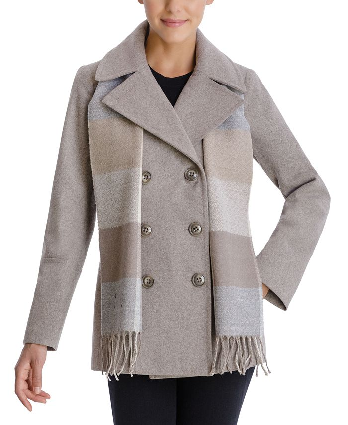 London Fog - Double-Breasted Plaid-Scarf Peacoat