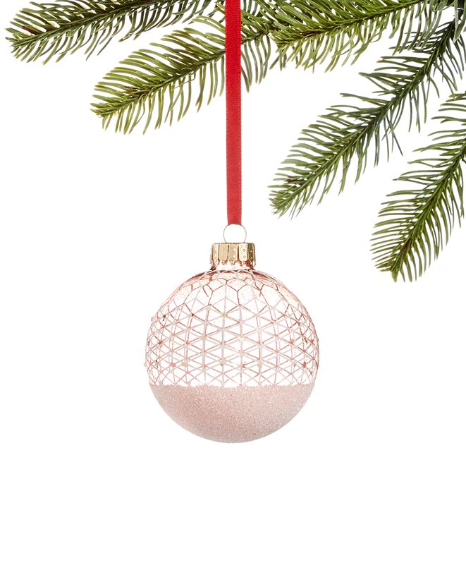 Holiday Lane Shimmer & Light, Pink & White Glitter Decal Ornament, Created for Macy's