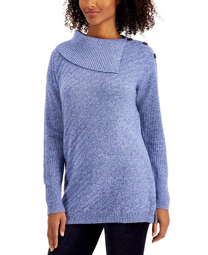 Style & Co - Plus Size Envelope-Neck Tunic Sweater