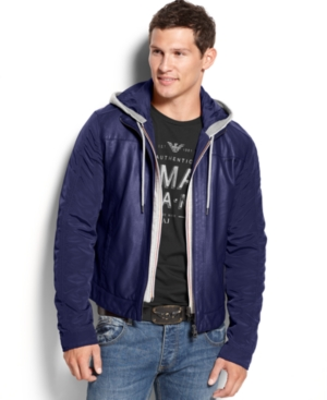 Armani Jeans Hooded Faux-Leather Jacket $ 276.99