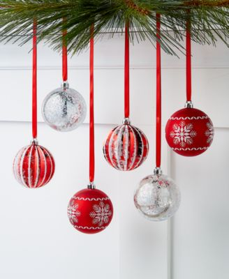 Chalet You Stay,  Red & Silver Shatterproof Ornaments, Set of 6, Created for Macy's