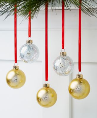 Shine Bright Glass Gold and Silver Ornaments, Set of 5, Created for Macy's