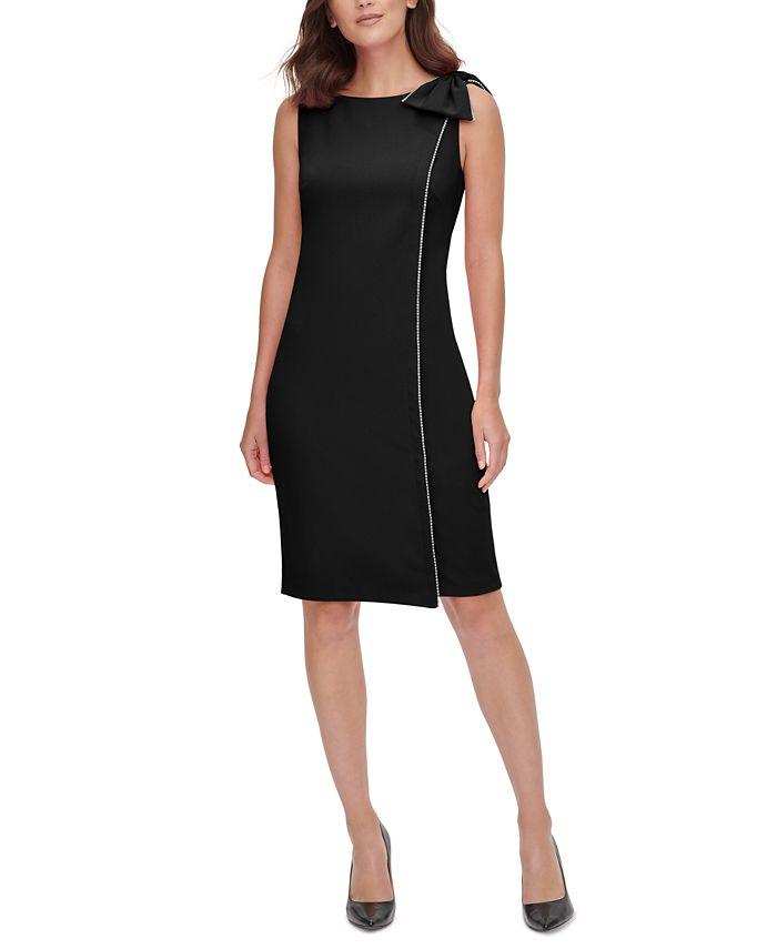 Jessica Howard - Side-Bow Embellished-Trim Dress