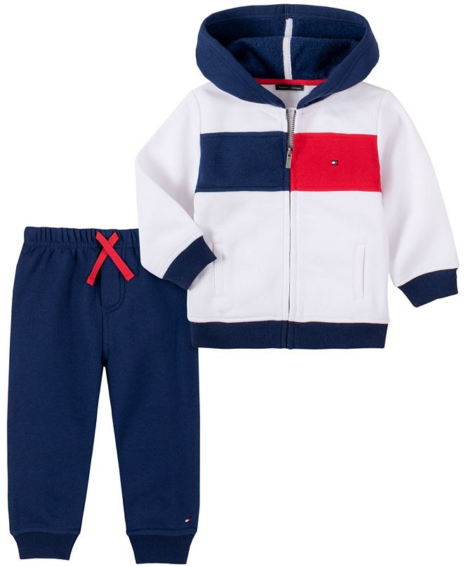Tommy Hilfiger Baby Boys Zip Front Fleece Hoodie Pant Set