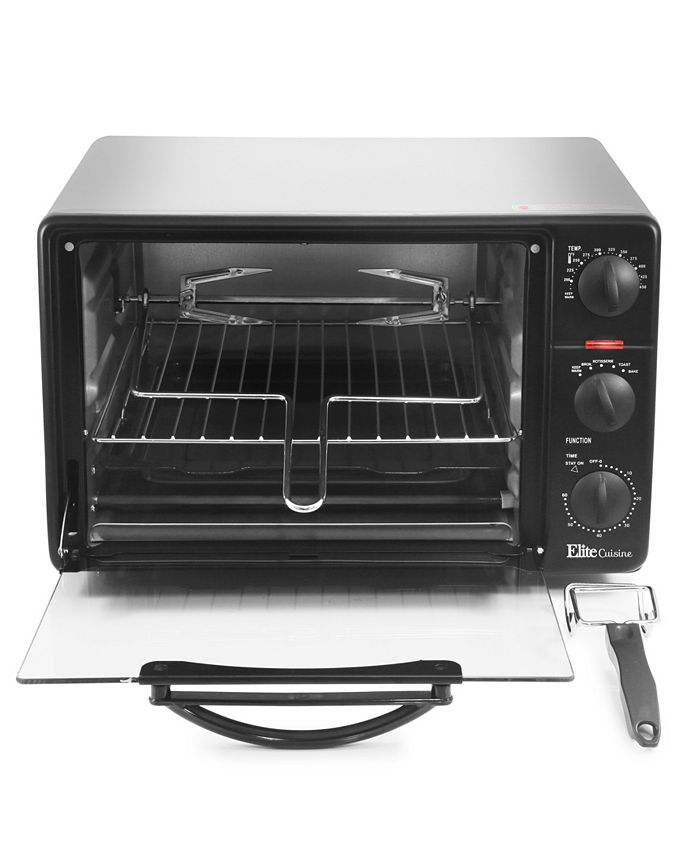 Elite Cuisine - 0.8Cu. Ft. Toaster Oven Broiler with Rotisserie