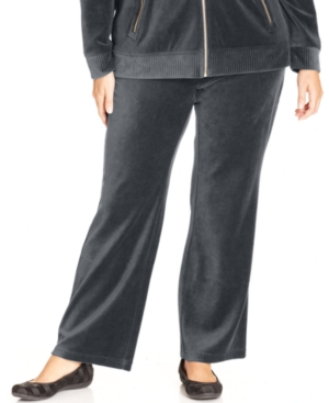 Style & co. Sport Plus Size Velour Straight-Leg Pull-On Pants
