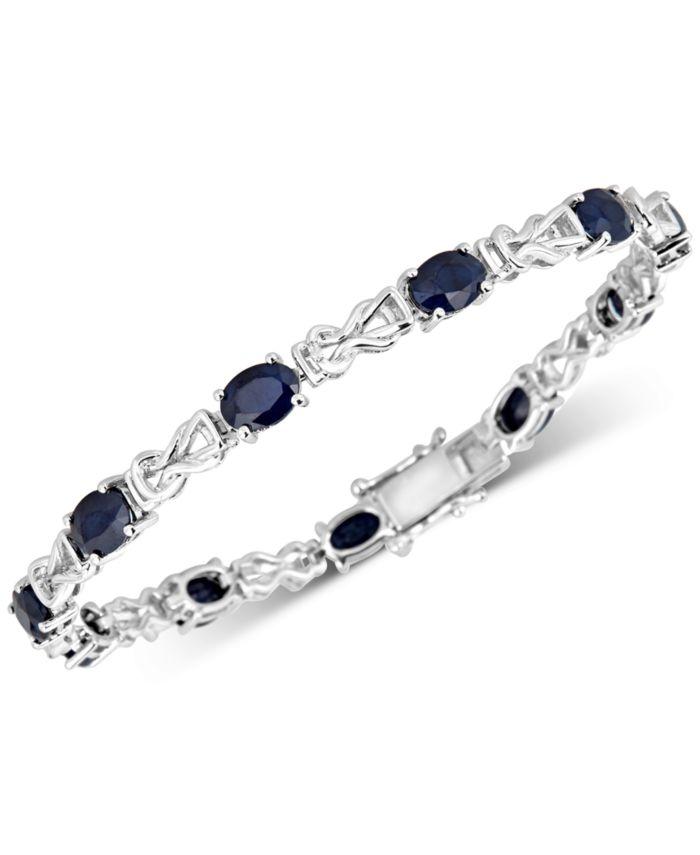 Macy's Sapphire Link Bracelet (10-1/2 ct. t.w.) in Sterling Silver & Reviews - Bracelets - Jewelry & Watches - Macy's