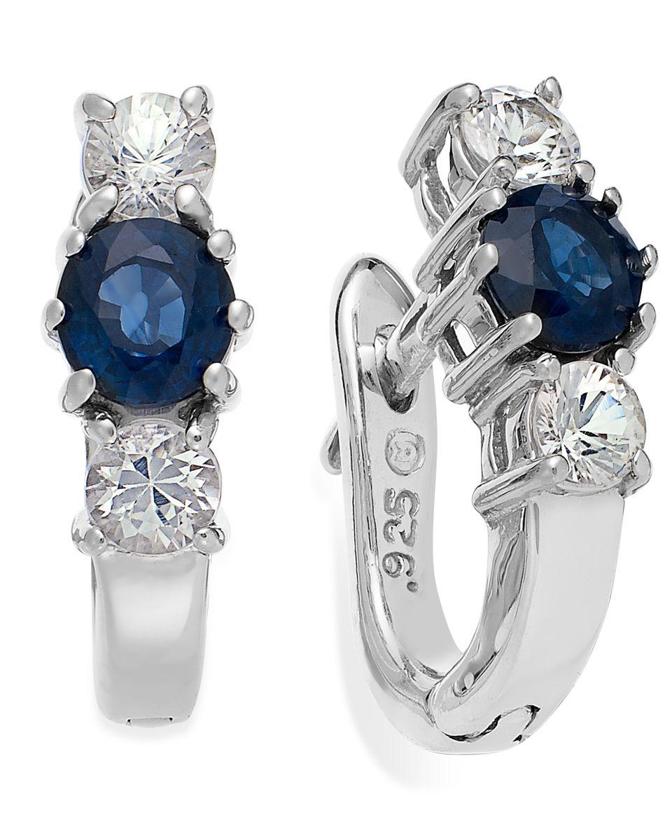 Sterling Silver Earrings, Blue and White Sapphire Channel Set Earrings (3 ct. t.w.)   Earrings   Jewelry & Watches