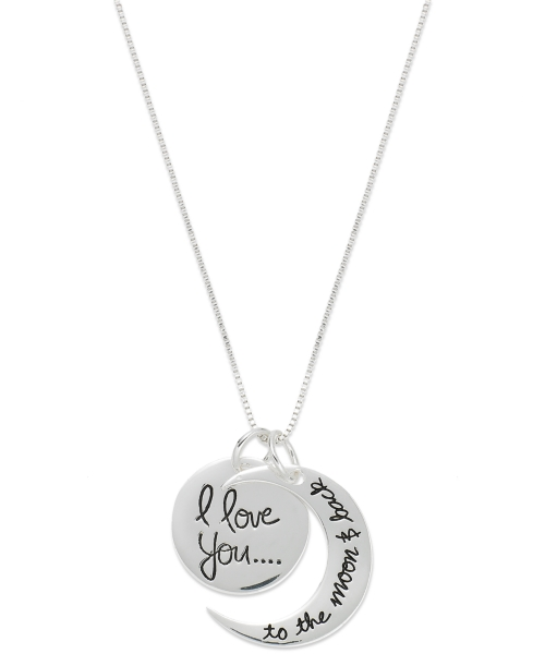 "Inspirational Sterling Silver Necklace, ""Love You to the Moon"" Charm Pendant"
