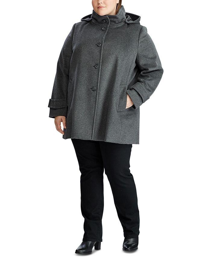Lauren Ralph Lauren - Plus-Size Wool-Blend Hooded Coat