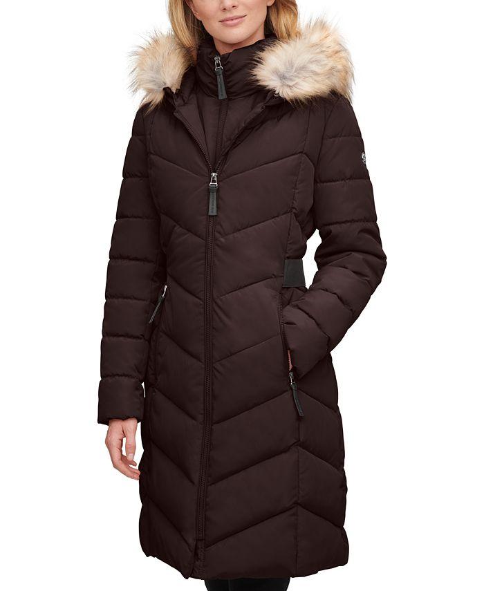 Calvin Klein - Faux-Fur-Trim-Hooded Puffer Coat