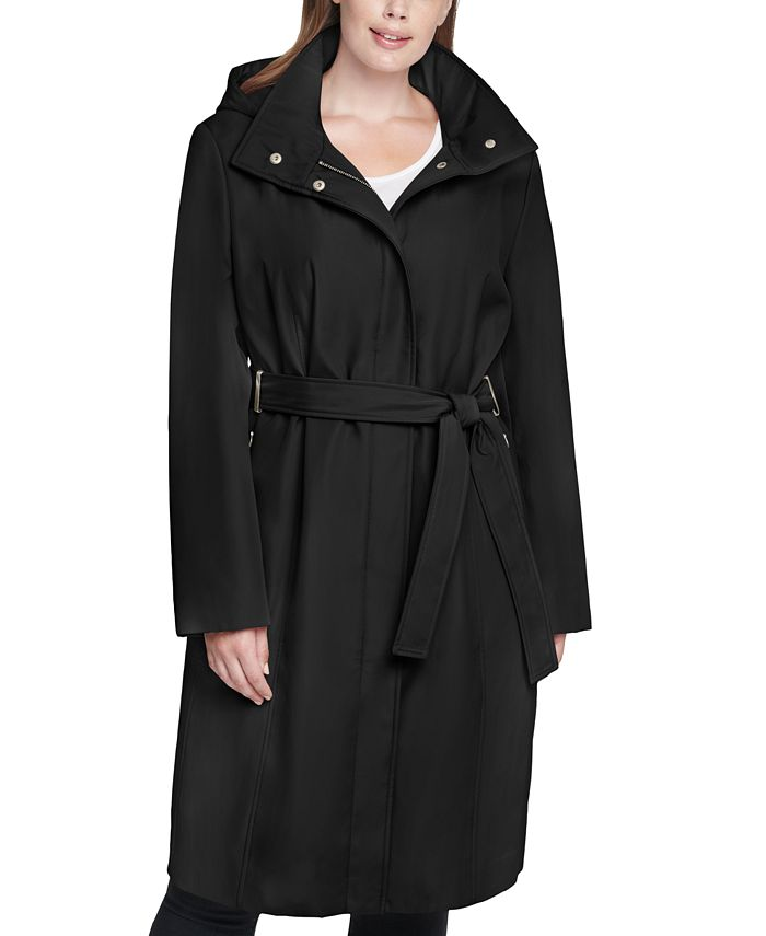 Calvin Klein - Plus Size Hooded Belted Raincoat