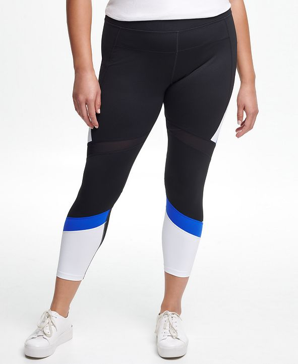 Calvin Klein Plus Size High-Waisted Colorblocked 7/8 Tights