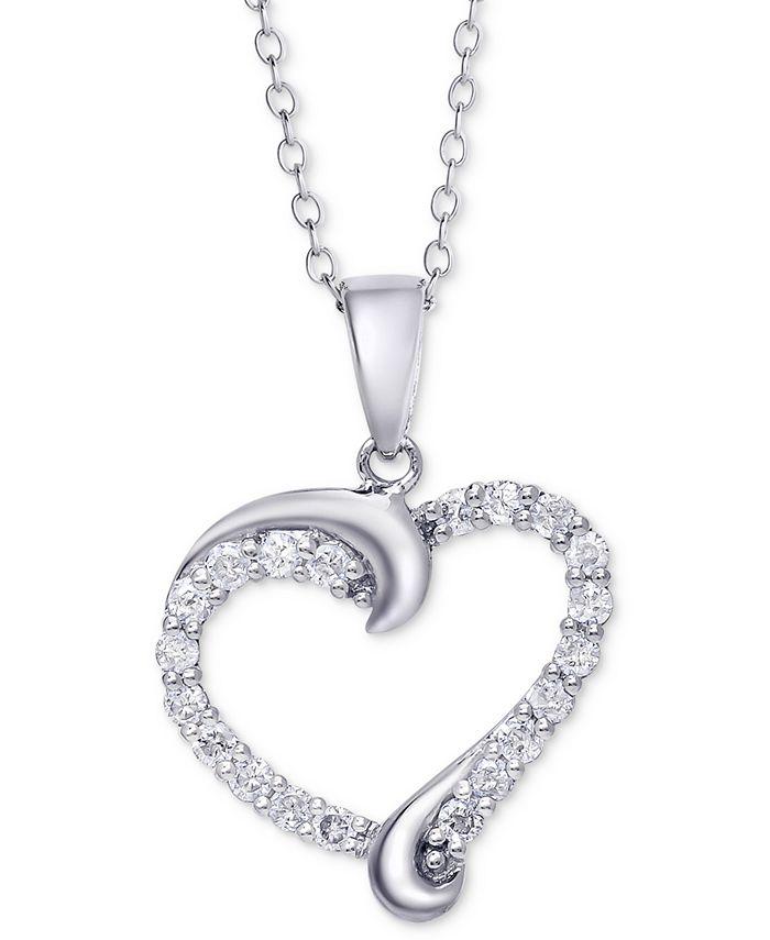 Macy's - Diamond Swirl Heart Pendant Necklace (1/2 ct. t.w.)