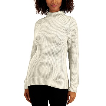 Style & Co Petite Cotton Funnel-Neck Sweater