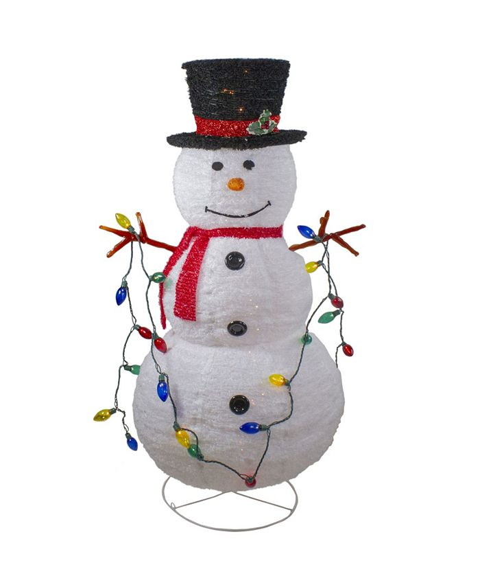 Northlight Lighted 3d Chenille Winter Snowman With Top Hat Outdoor Christmas Decoration Reviews Shop All Holiday Home Macy S