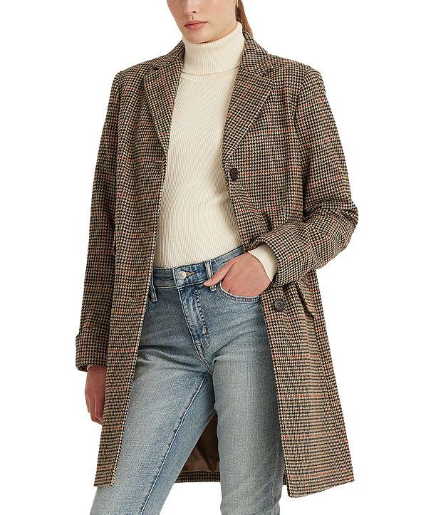 Lauren Ralph Lauren Houndstooth Single-Breasted Walker Coat, Created for Macy's