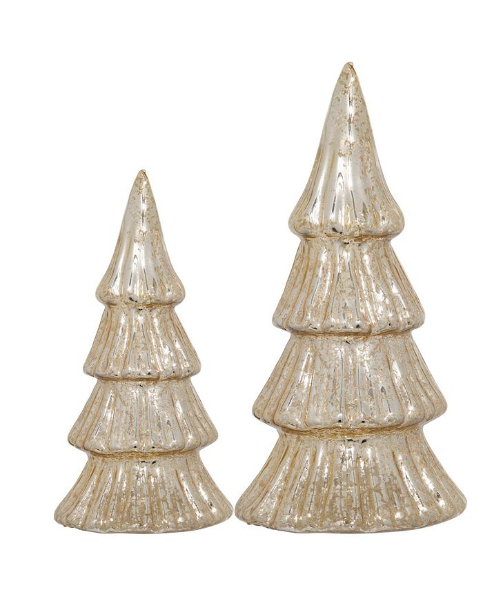Home Essentials - S/2  gold TREES