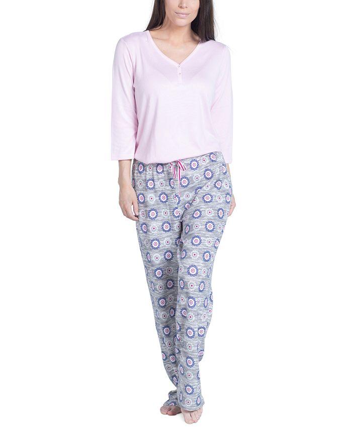 Muk Luks - Solid Long-Sleeve T-Shirt & Printed Pants Pajama Set