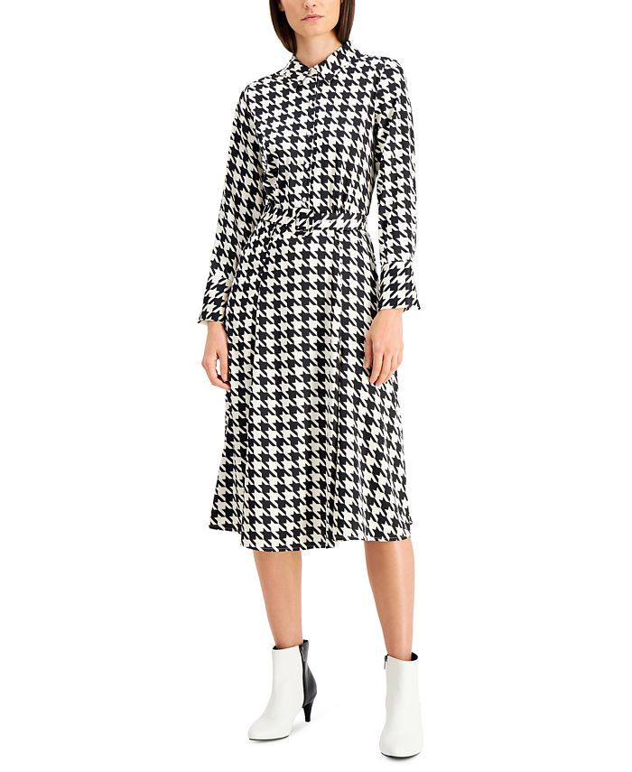 Alfani - Plus Size Houndstooth-Print Midi Dress