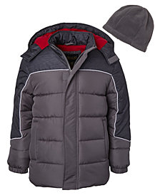 Ixtreme Little Boys Solid Contrast Puffer with Fleece Hat