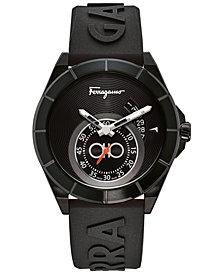 Ferragamo Men's Swiss Urban Black Silicone Strap Watch 43mm