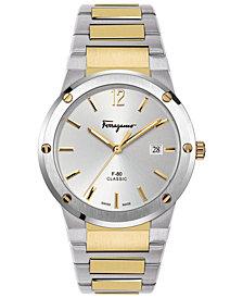 Ferragamo Men's Swiss F-80 Classic Two-Tone Stainless Steel Bracelet Watch 41mm