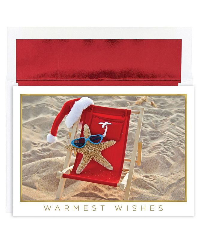 Masterpiece Cards Starfish Santa Holiday Boxed Cards, 18 Cards and 18 Foil Lined Envelopes