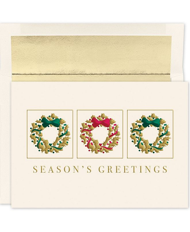 Masterpiece Studios Masterpiece Cards Wreath Trio Holiday Boxed Cards, 16 Cards and 16 Envelopes