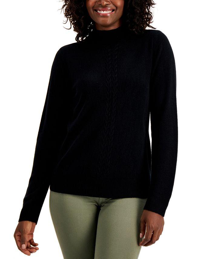 Karen Scott - Mock-Neck Cable-Trim Sweater
