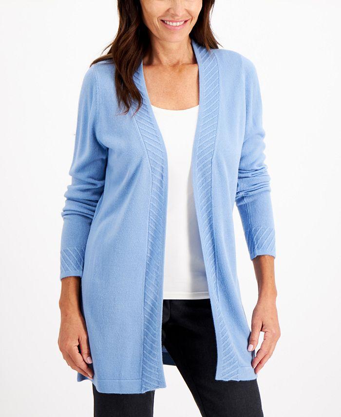 Karen Scott - Plus Size Luxsoft Ribbed-Trim Open-Front Cardigan Sweater
